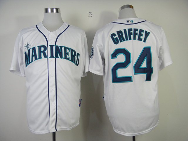 MLB Seattle Mariners 24 Griffey White Jerseys