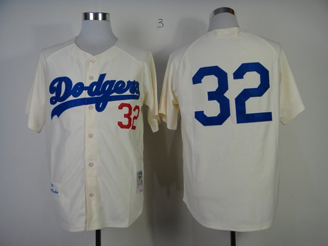 MLB Los Angeles Dodgers 32 Koufax Cream M&N 1955 Jersey