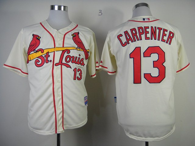 MLB St.Louis Cardinals 13 Matt Carpenter cream Jersey