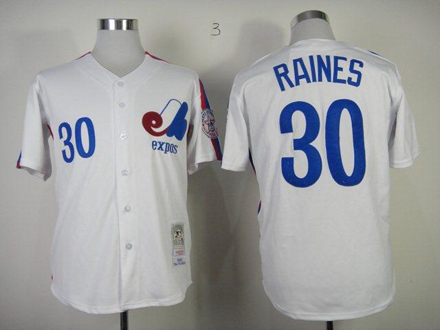MLB Montreal Expos 30 Raines white Jersey