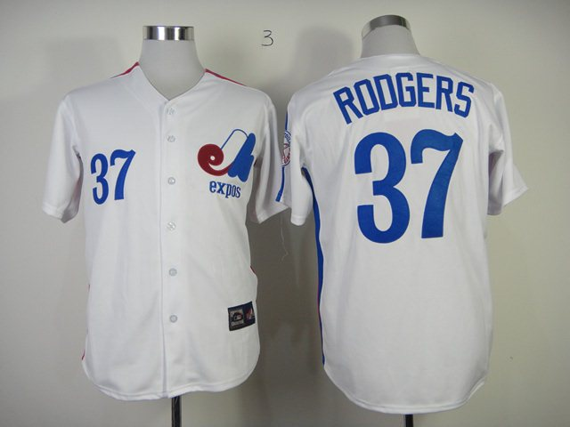 MLB Montreal Expos 37 Roogers White Jersey