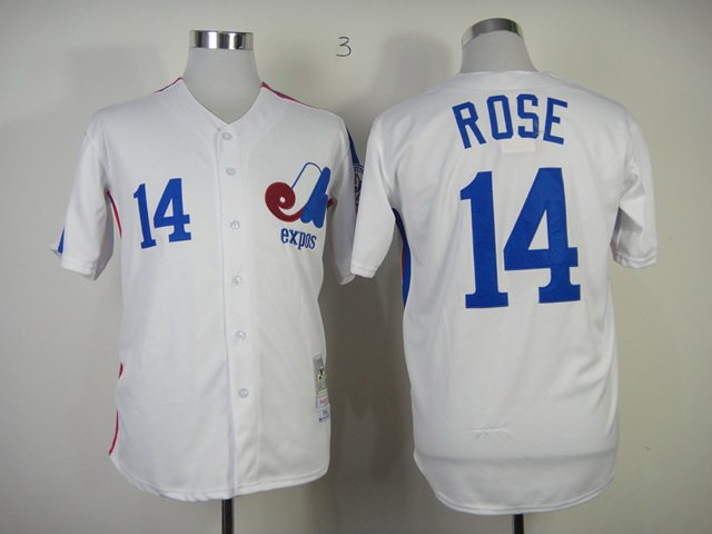 MLB Montreal Expos 14 Rose white Jersey