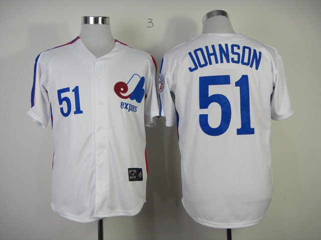 MLB Montreal Expos 51 Randy Johnson white Jersey