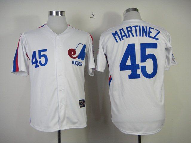 MLB Montreal Expos 45 Martinez white Jersey