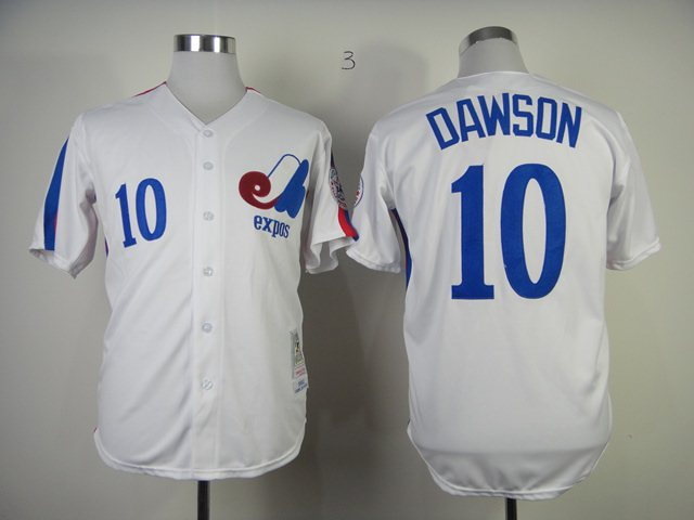 MLB Montreal Expos 10 Dawson white Jersey