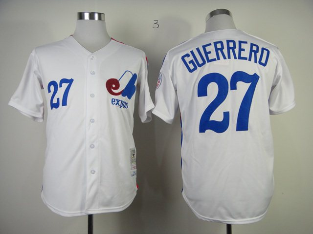 MLB Montreal Expos 27 Guerrerd White Jerseys
