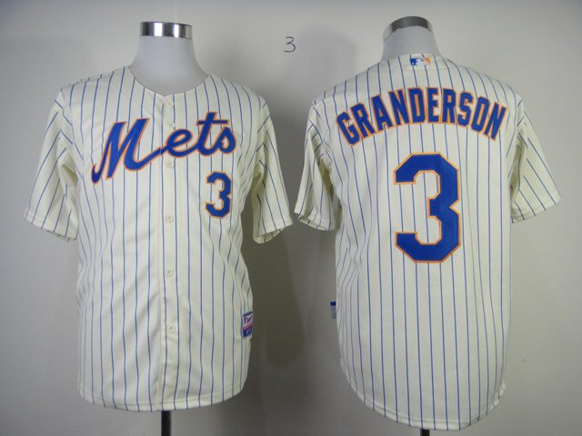 MLB New York Mets 3 granderson cream jerseys