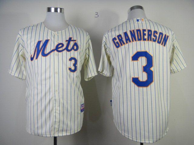 MLB New York Mets 3 granderson cream jerseys