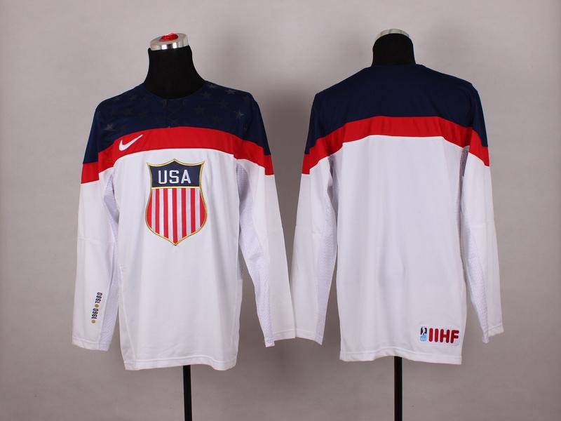 NHL 2014 Winter Olympic Team USA white blank Hockey Jersey