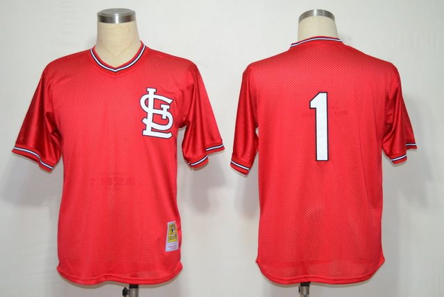 MLB St.Louis Cardinals 1 Ozzie Smith Red throwback Jerseys