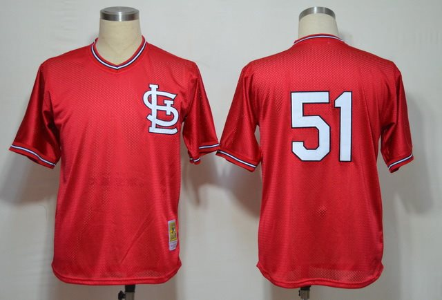 MLB St.Louis Cardinals 51 McGEE LT Red throwback Jerseys