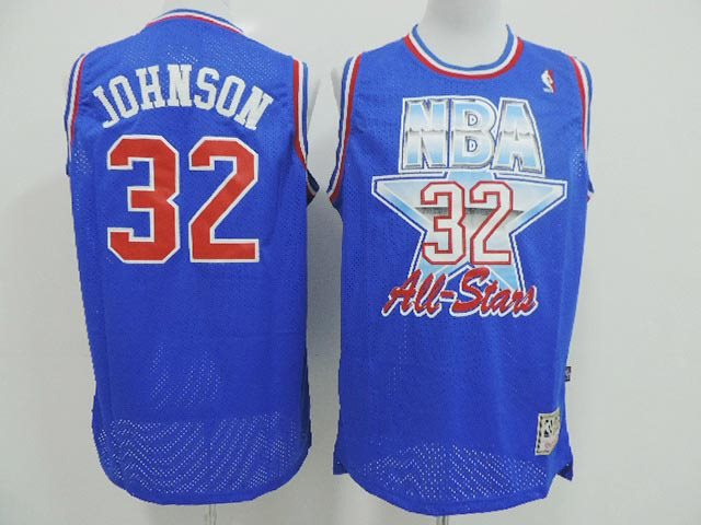 Los Angeles Lakers 32 Magic Johnson Throwback Blue 1993 All Star Jersey