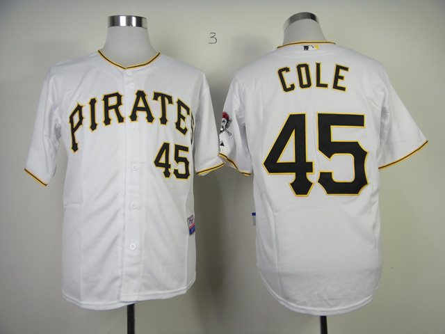 MLB Pittsburgh Pirates Gerrit Cole 45 White Jersey
