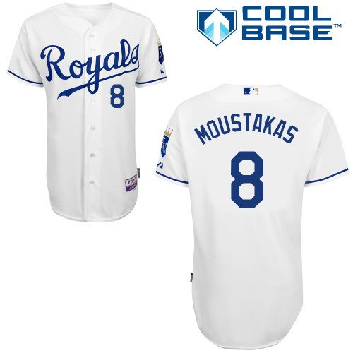 Kansas City Royals 8 Mike Moustakas white Cool Base Baseball Jersey