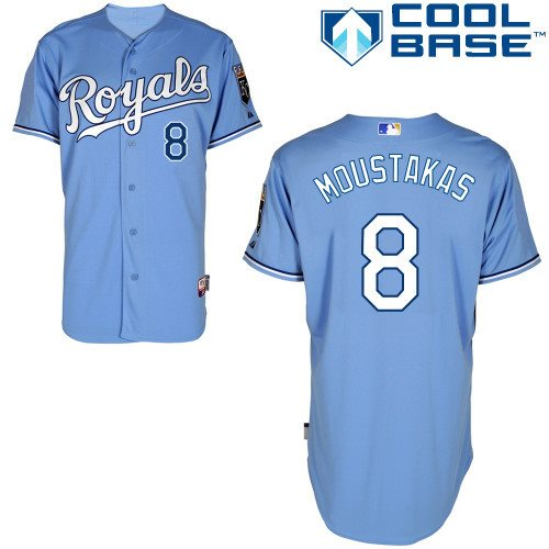 Kansas City Royals 8 Mike Moustakas light blue Cool Base Baseball Jersey