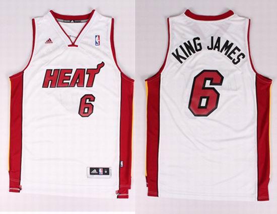 2014 New Style Miami Heat 6 James (King James) Nickname NBA Jerseys White