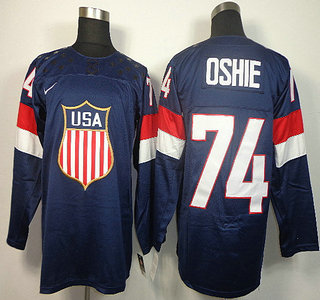 2014 Winter Olympics USA Team 74 T.J. Oshie Blue Jerseys