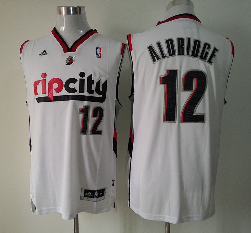Adidas NBA Portland Trail Blazers 12 Lamarcus Aldridge Pride Fashion New Revolution 30 Swingman Rip City White Jersey