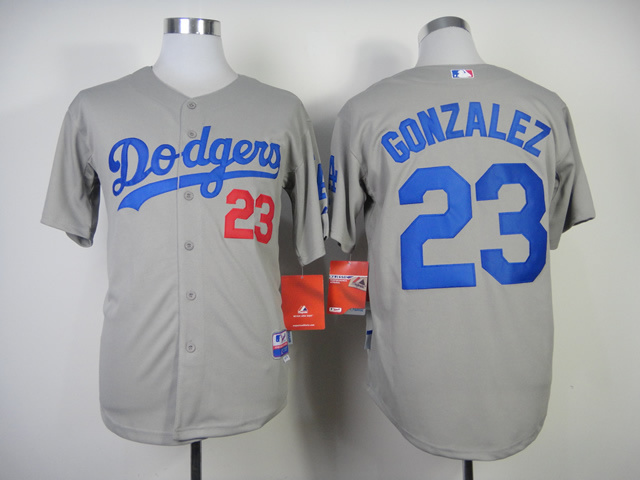 MLB Los Angeles Dodgers 23 Gibson Grey Jersey