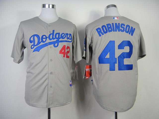 MLB Los Angeles Dodgers 42 ROBINSON Grey Jersey