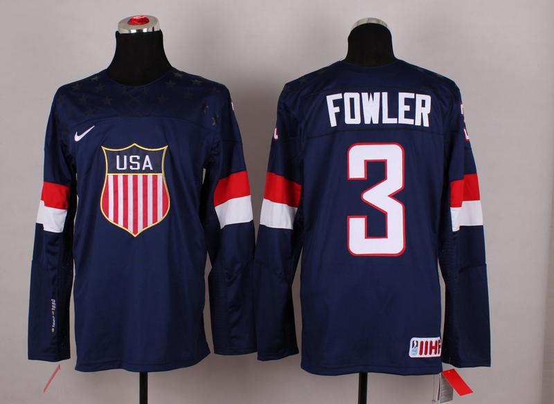NHL 2014 Winter Olympic Team USA 3 Fowler Blue Hockey Jersey