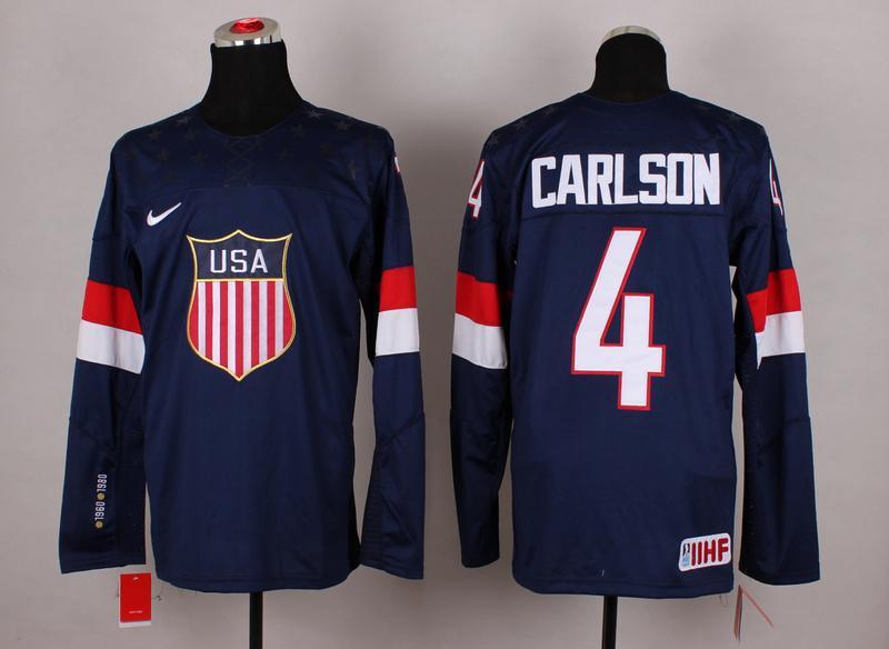 NHL 2014 Winter Olympic Team USA 4 Carlson Blue Hockey Jersey