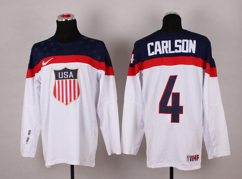NHL 2014 Winter Olympic Team USA 4 Carlson White Hockey Jersey