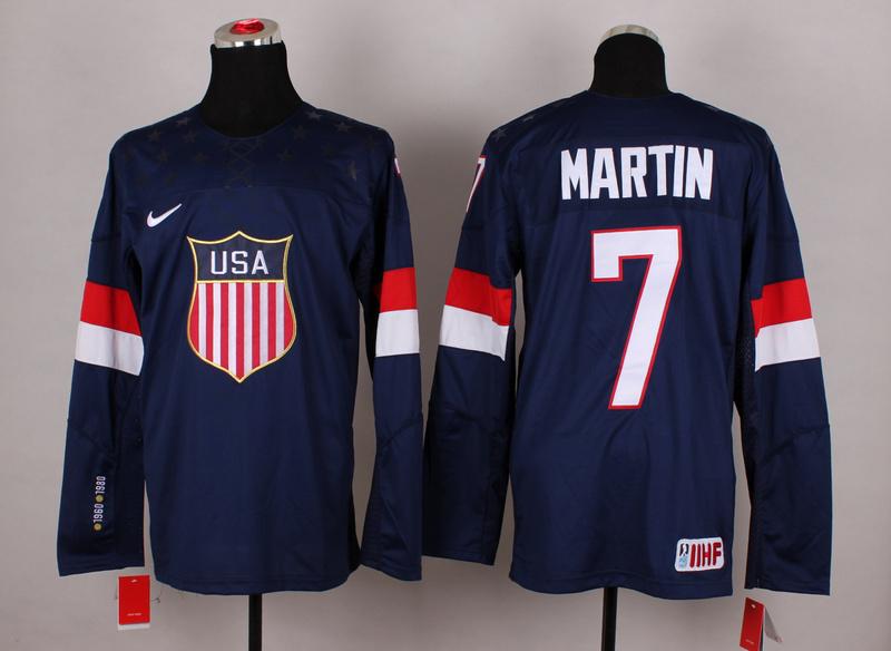 NHL 2014 Winter Olympic Team USA 7 Martin Blue Hockey Jersey