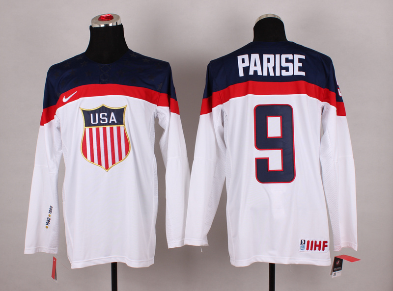 NHL 2014 Winter Olympic Team USA 9 Parise White Hockey Jersey