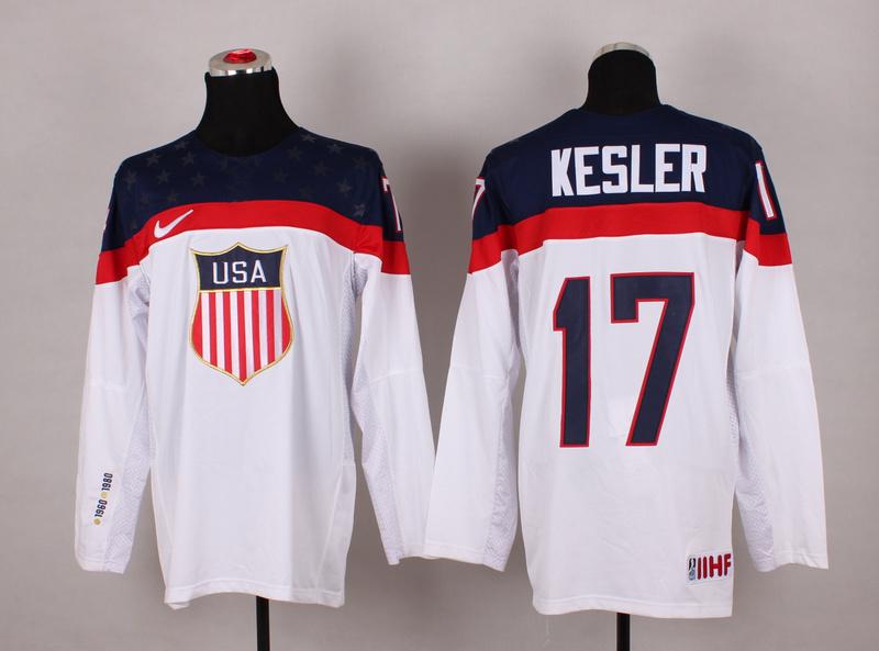 NHL 2014 Winter Olympic Team USA 17 Kesler White Hockey Jersey