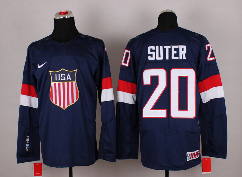 NHL 2014 Winter Olympic Team USA 20 Suter Blue Hockey Jersey