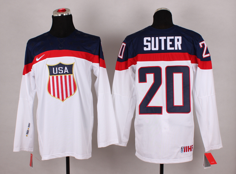 NHL 2014 Winter Olympic Team USA 20 Suter White Hockey Jersey
