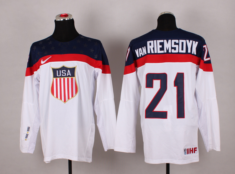 NHL 2014 Winter Olympic Team USA 21 Van Riemsdyk White Hockey Jersey