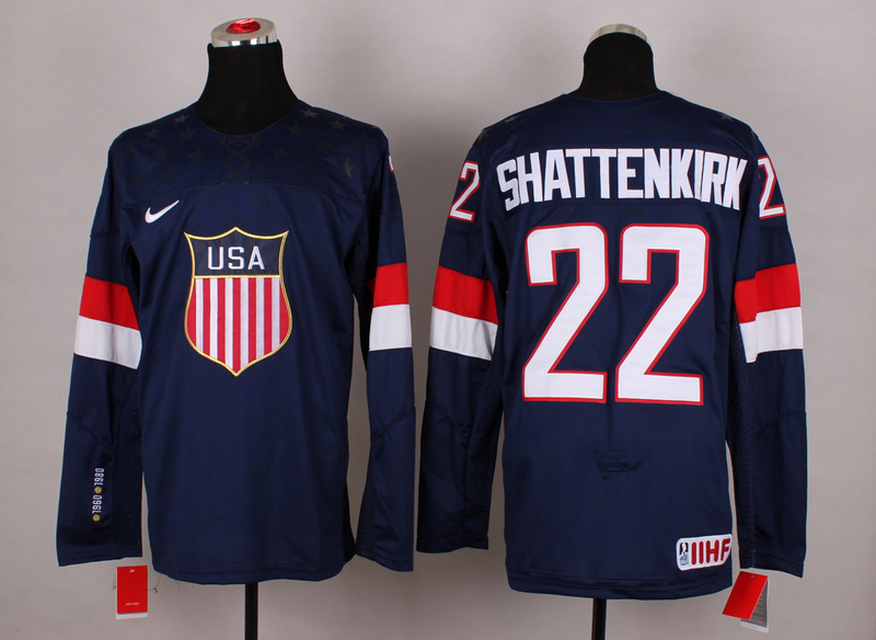 NHL 2014 Winter Olympic Team USA 22 Shattenkirk Blue Hockey Jersey