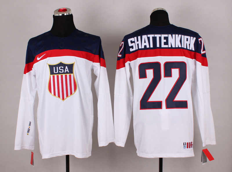 NHL 2014 Winter Olympic Team USA 22 Shattenkirk White Hockey Jersey