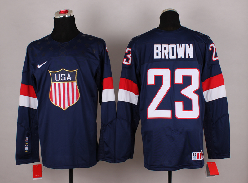 NHL 2014 Winter Olympic Team USA 23 Brown Blue Hockey Jersey