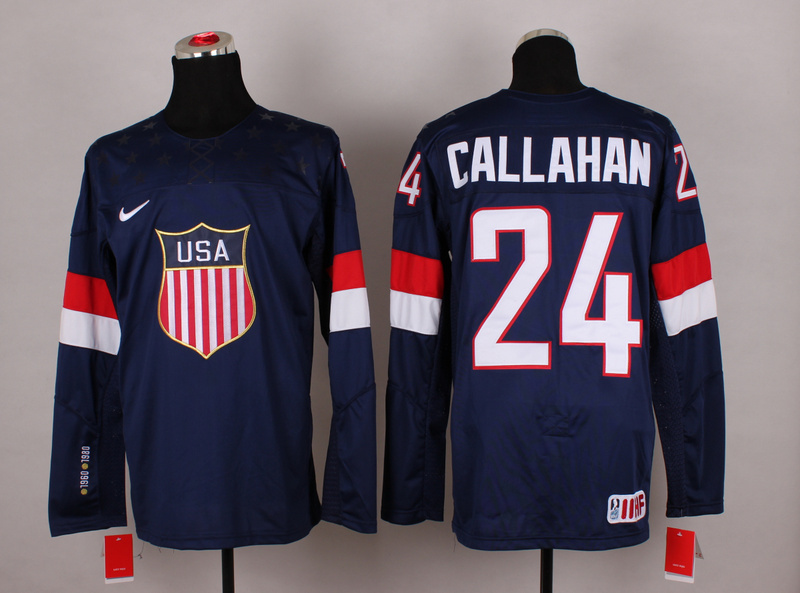 NHL 2014 Winter Olympic Team USA 24 Callahan Blue Hockey Jersey