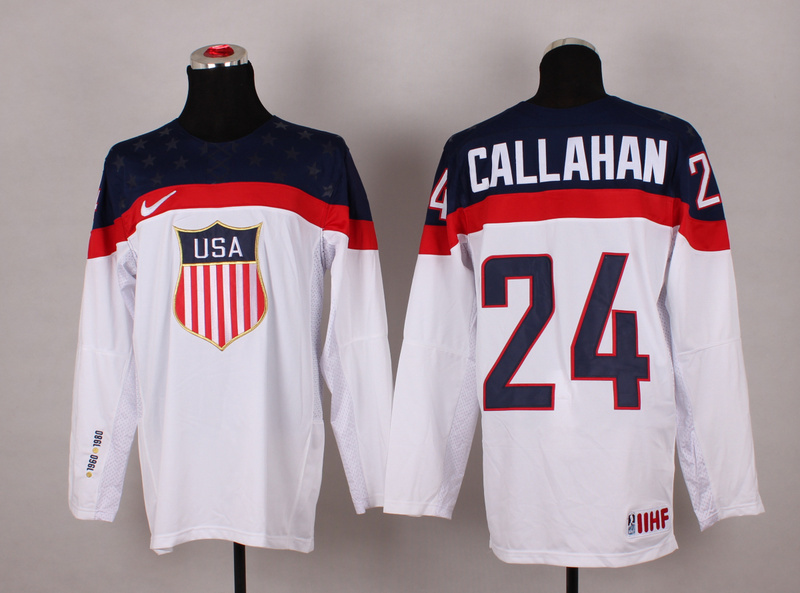NHL 2014 Winter Olympic Team USA 24 Callahan White Hockey Jersey