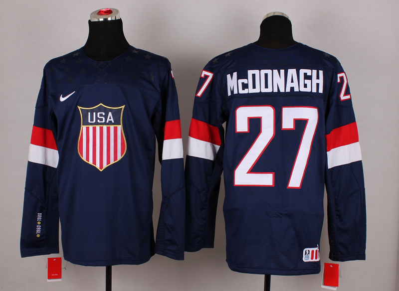 NHL 2014 Winter Olympic Team USA 27 Mcdonagh Blue Hockey Jersey