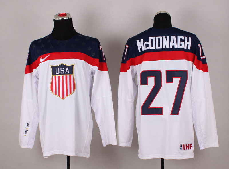 NHL 2014 Winter Olympic Team USA 27 Mcdonagh White Hockey Jersey