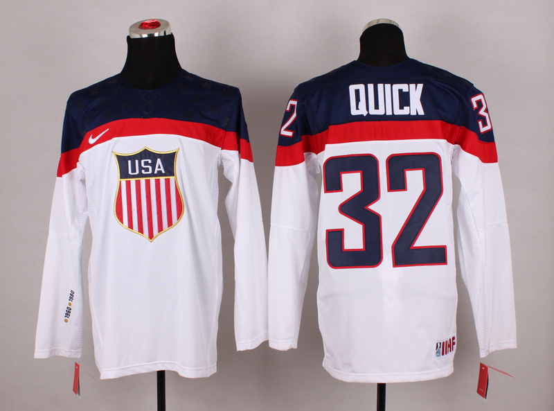 NHL 2014 Winter Olympic Team USA 32 Quick White Hockey Jersey