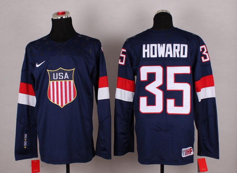 NHL 2014 Winter Olympic Team USA 35 Howard blue Hockey Jersey