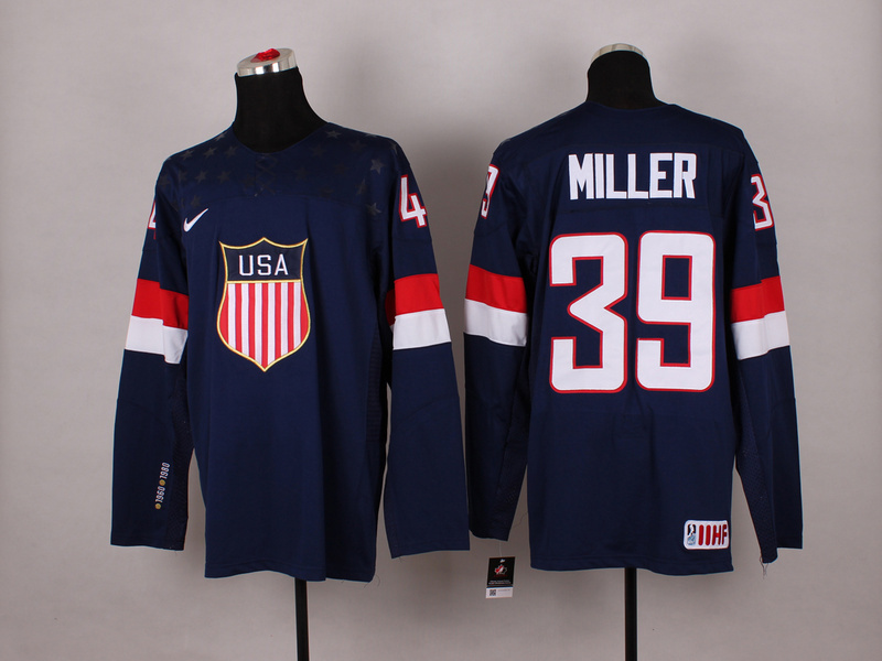 NHL 2014 Winter Olympic Team USA 39 Miller Blue Hockey Jersey