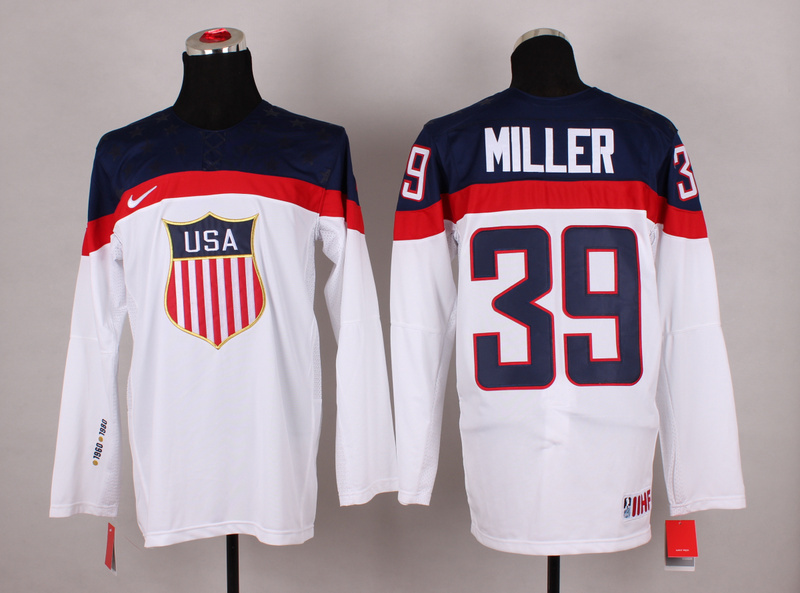 NHL 2014 Winter Olympic Team USA 39 Miller White Hockey Jersey