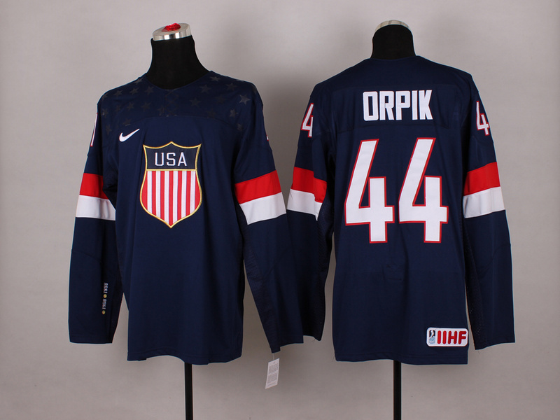 NHL 2014 Winter Olympic Team USA 44 Orpik Blue Hockey Jersey