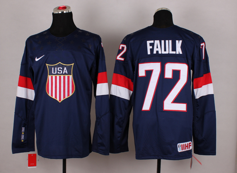 NHL 2014 Winter Olympic Team USA 72 Faulk Blue Hockey Jersey
