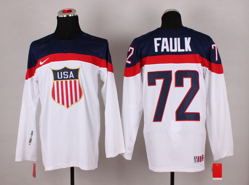 NHL 2014 Winter Olympic Team USA 72 Faulk White Hockey Jersey