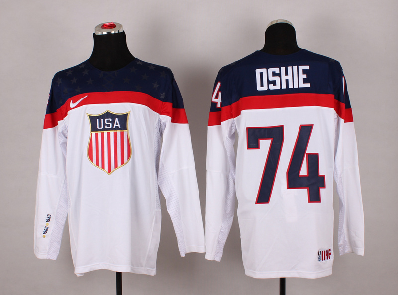 2014 Winter Olympics USA Team 74 T.J. Oshie White Jerseys