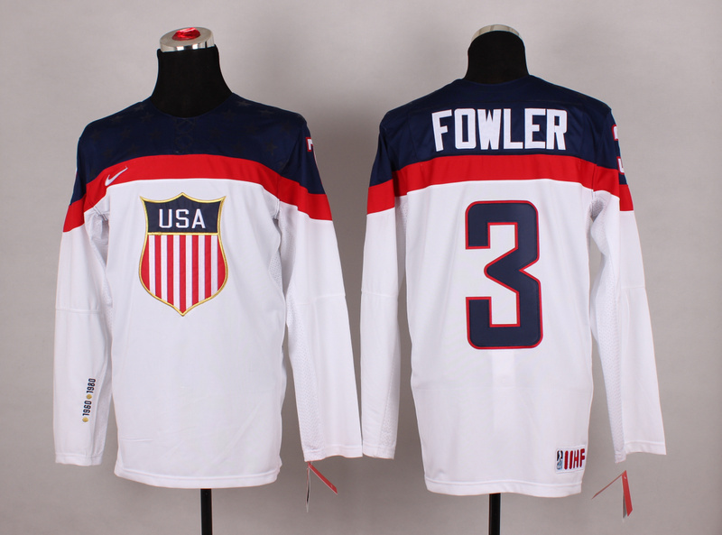 NHL 2014 Winter Olympic Team USA 3 Fowler White Hockey Jersey