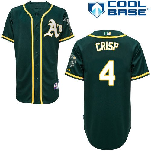 2014 MLB Oakland Athletics 4 Crisp Green cool base Jersey